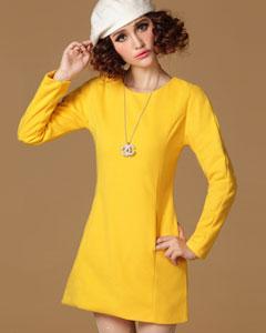 【偌缃惜】2016秋冬装新款韩版名媛风百搭修身长袖毛呢连衣裙 黄色