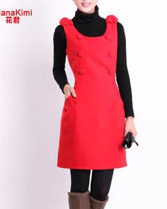 【花君】hanakimi花君 冬季新款 毛呢背心裙子 连衣裙 纽扣装饰 韩版修身大码裙 SL8006红色