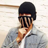 韩版时尚潮人冬季加厚新款保暖毛线帽口罩帽
