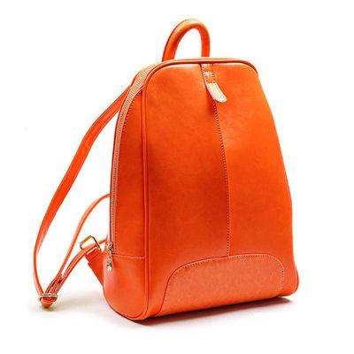 韩版广州潮流新款双肩包真皮女包糖果色书包可爱女士牛皮背包(玫红色)