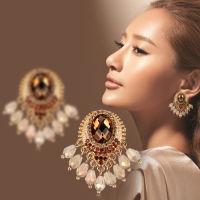 【DARA戴拉】超大高档耳环欧美时尚复古水晶耳钉女民族风夸张新款耳饰