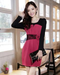 【反季清仓】2016春夏时尚韩版修身长袖针织连衣裙(玫红色)