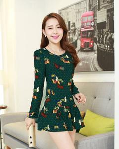 【尚之优品】春季新款韩版中长款复古印花雪纺连衣裙 (墨绿)