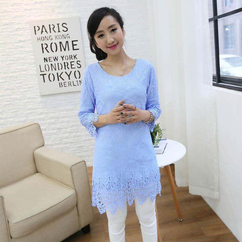时尚优雅气质休闲长款花边蕾丝七分袖连衣裙