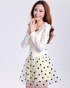 淑女蕾丝拼接欧根纱波点修身长袖假两件蓬蓬公主连衣裙(黄色)
