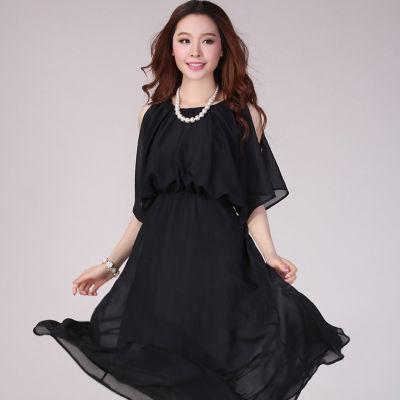【蒂妮佳】显瘦凉爽雪纺沙滩长裙(黑色)