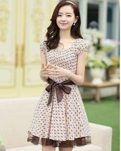 【雪璐】2014夏装新款气质印花连衣裙短袖连衣裙(咖啡字母)