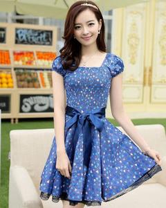 【雪璐】2014夏装新款气质印花连衣裙短袖连衣裙(牛仔蓝)