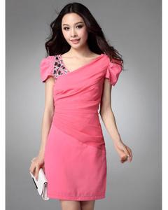 【欣缘木子】韩版肩膀钉亮钻气质修身短袖裙 OL风品牌连衣裙(玫红)