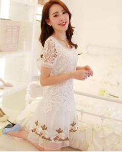2016夏装新款韩版修身圆领中长款蕾丝雪纺连衣裙(白色)