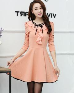 2016秋季女装韩版新款修身显瘦大摆长袖连衣裙