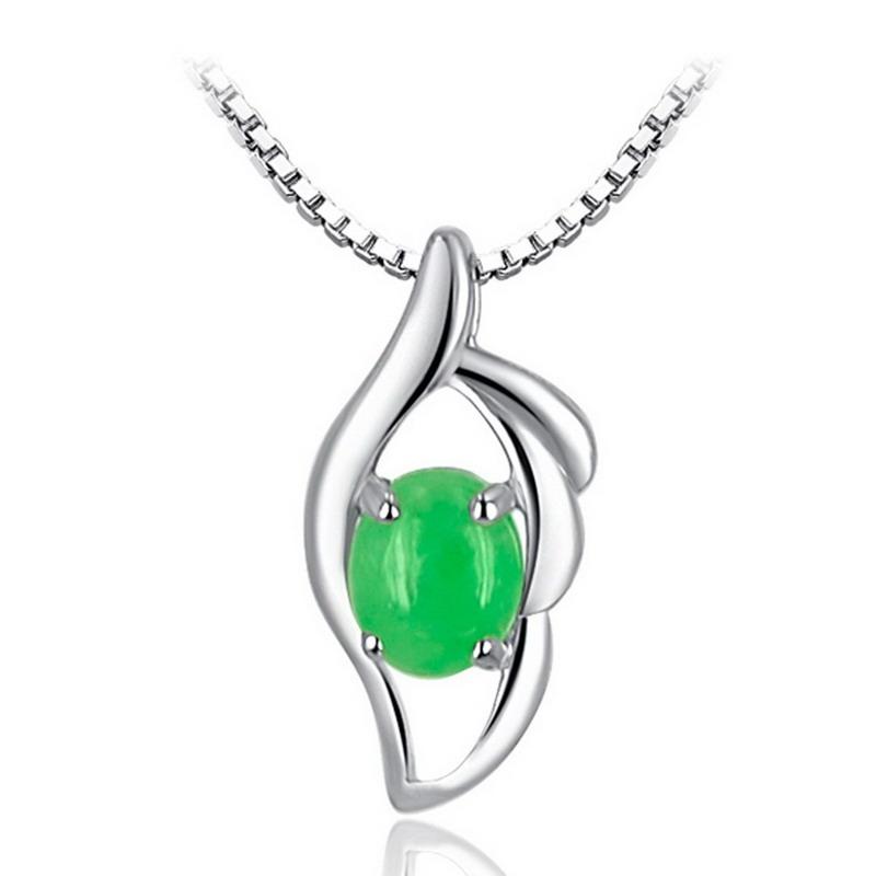 珠宝首饰 > s925纯银镶嵌缅甸翡翠a货豆绿吊坠树叶吊