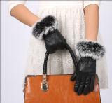2017女士时尚新款冬季保暖户外骑行PU触屏皮手套