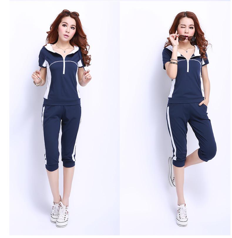夏季运动装卫衣休闲套装女士运动服 短袖运动套装女款夏装 宝蓝