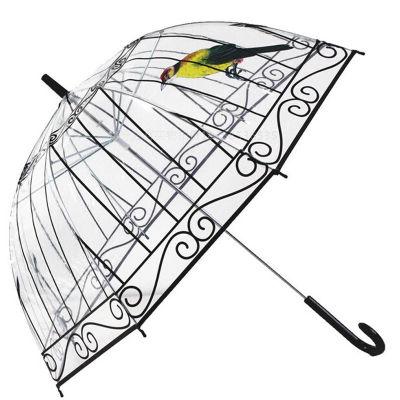 鸟笼透明雨伞定制长柄雨伞加厚poe透明伞(因秒杀单量大 商品将在72小时内发出 请耐心等候哦)