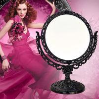 安娜苏风格复古旋转式圆型蔷薇花双面台镜