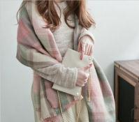 秋冬新款气质小清新超柔软仿羊绒流苏彩色格子围巾
