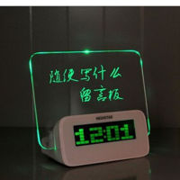 创意时尚留言板大屏幕浪漫荧光时钟电池款