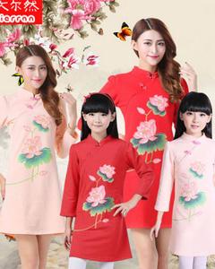 2016新版中国风女装旗袍 童装旗袍(母女装)