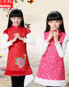 中国风新年装女童唐装旗袍 冬装背心裙