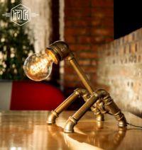 loft爱迪生工业复古风个性水管创意台灯(纯手工做,两种光源)