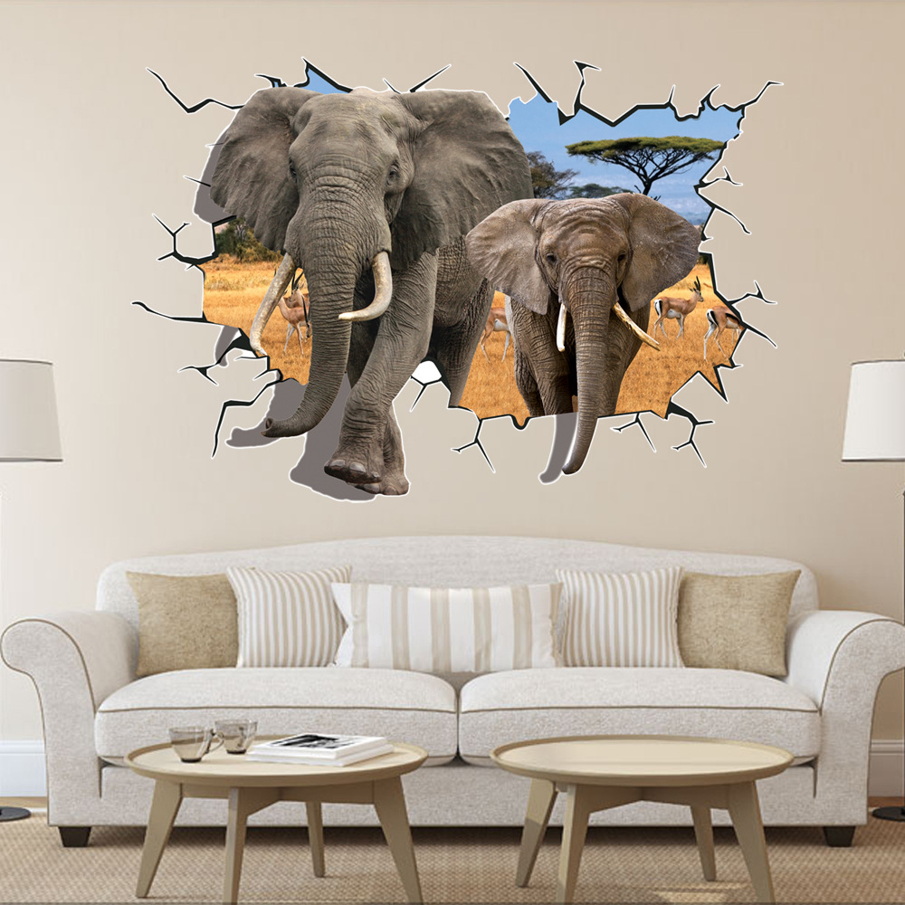 【3d创意立体地贴】动漫系列-穿墙大象【图片