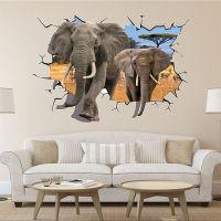 【3D创意立体墙贴】动漫系列-穿墙大象