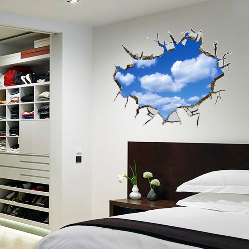 蓝天白云3d立体天花板墙贴