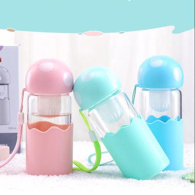 【草莓生活】创意蘑菇玻璃可过滤茶杯380ml(可拆卸茶隔)