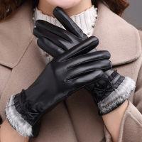 女士冬季保暖兔毛边真羊皮触屏手套