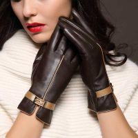 女士秋冬季加绒加厚保暖羊皮触摸屏真皮手套