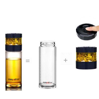 宜加美双层茶水分离玻璃杯B92(450ml)赠送隔热杯套(职场蓝)