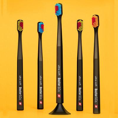 瑞士Doctor&Co可站立比心软毛情侣牙刷 4支+2底座套装