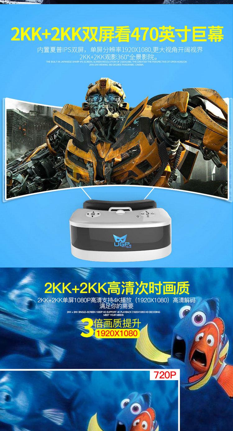 3d投影机报价_ugp高清vr一体机 虚拟现实3d眼镜 4k头戴式ar影院 2k游戏机头盔 ...