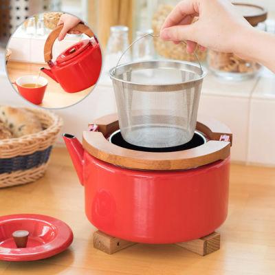 日本CB JAPAN 北欧系列泡煮两用珐琅泡茶开水壶(原木手柄高端款)-(送价值128元不锈钢餐具12件套)