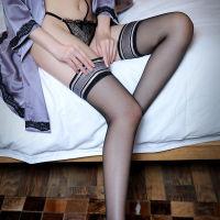 霏慕 复古花边蕾丝防滑透明情趣长筒丝袜