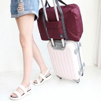 韩式2019款旅行防水折叠手提包 拉杆箱固定包(蓝色和酒红色随机发放)