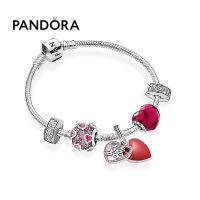 Pandora潘多拉双喜临门925银紫红爱心手链套装ZT0579