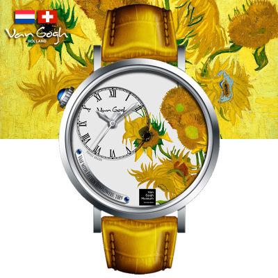 VanGogh梵高 瑞士原装进口 博物馆正版授权画梦系列小表盘石英手表-向日葵