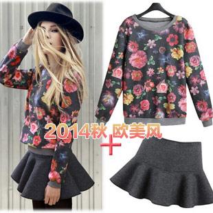2014秋季新款 时尚欧美时装 花色长袖荷叶边短裙套装