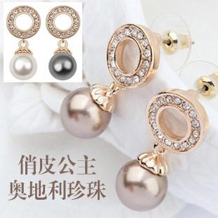【爱希尼】正品 奥地利珍珠耳钉 俏皮公主 水晶耳饰