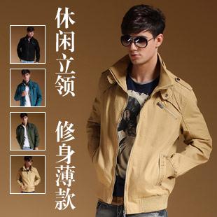 【戈斯威尔】2014秋冬季青年休闲立领修身薄款男款夹克外套(卡其色)